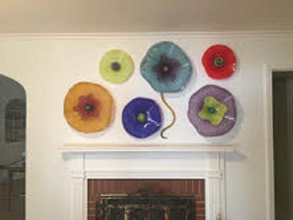 colorful glass wall art glass wall plates