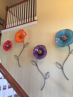 colorful glass wall flowers