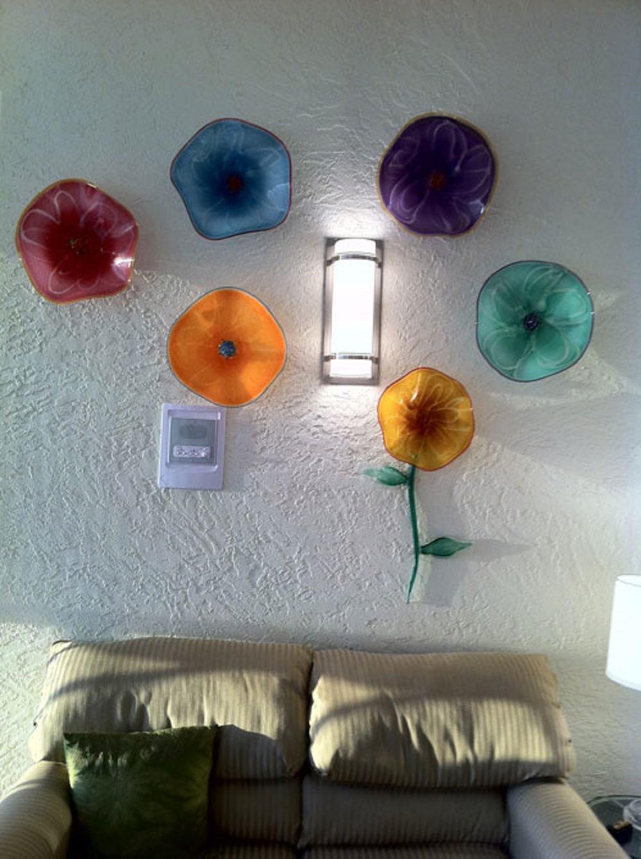 healing art glass wall flowers