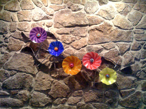 metal and glass wall flowers