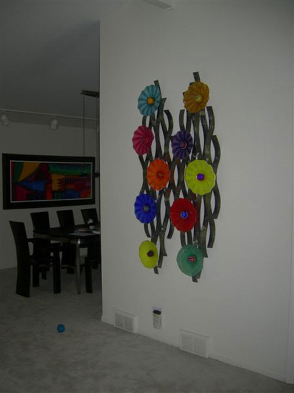 colorful glass and metal art