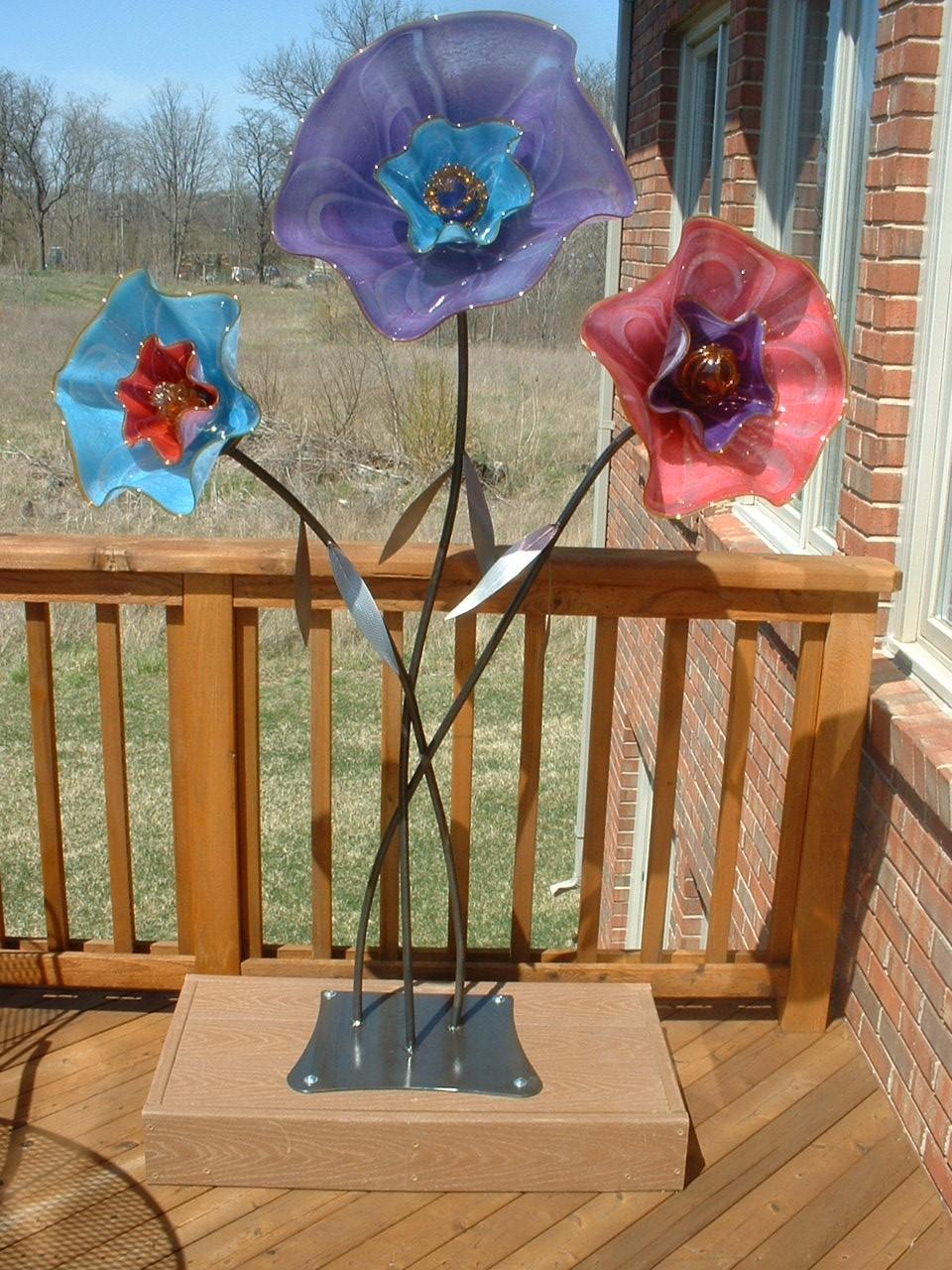 Metal and glass garden sculpture