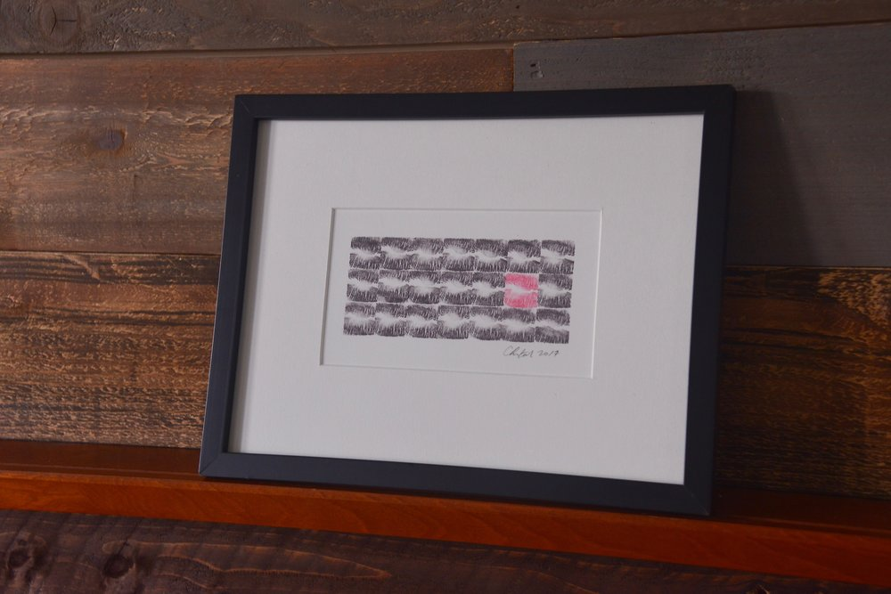 Framed display. Print is sold unframed