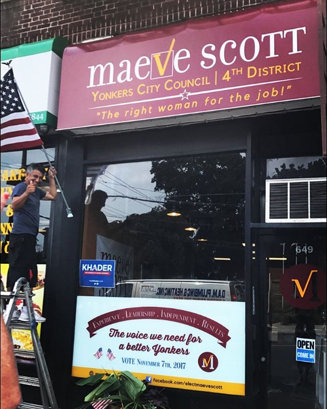 The awning for our McLean Ave headquarters is officially up! Come stop by to meet Maeve and the campaign team! #maeve4the4th #yonkers #yonkersny #democrats #democraticparty #citycouncil #vote #westchester #district4