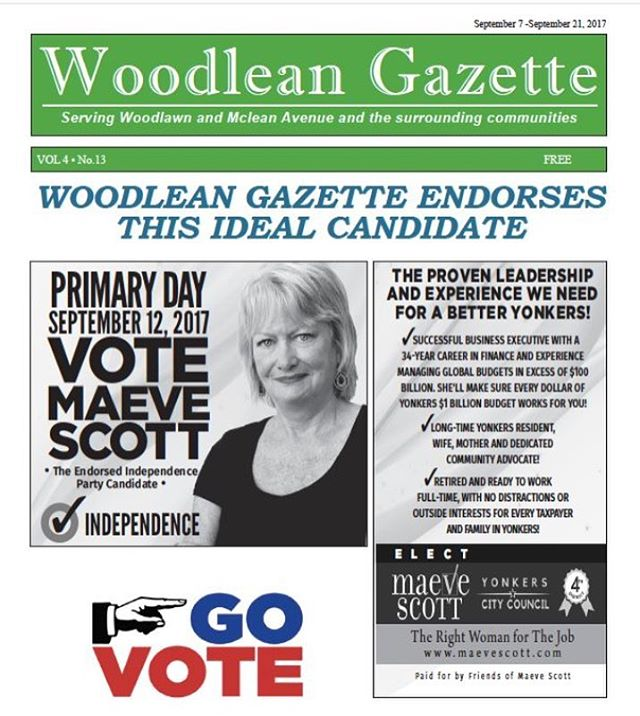 This week's issue of Woodlawn Gazette. Thank you for the endorsement! Go vote September 12th! #yonkerscitycouncil #citycouncil #district4 #westchester #yonkers #yonkersny #woodleangazette #vote #september12 #democrats