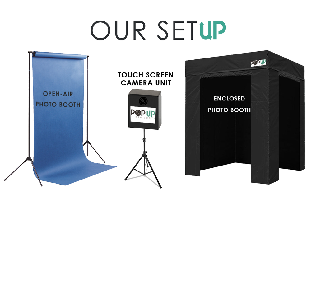 Choose from our open-air photo booth or enclosed photo booth. Both options come with our touch-screen camera unit. - Get in touch today.