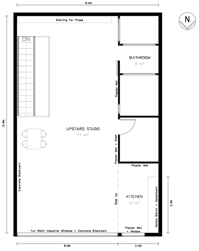 Floor plan warehouse studio Northcote for hire