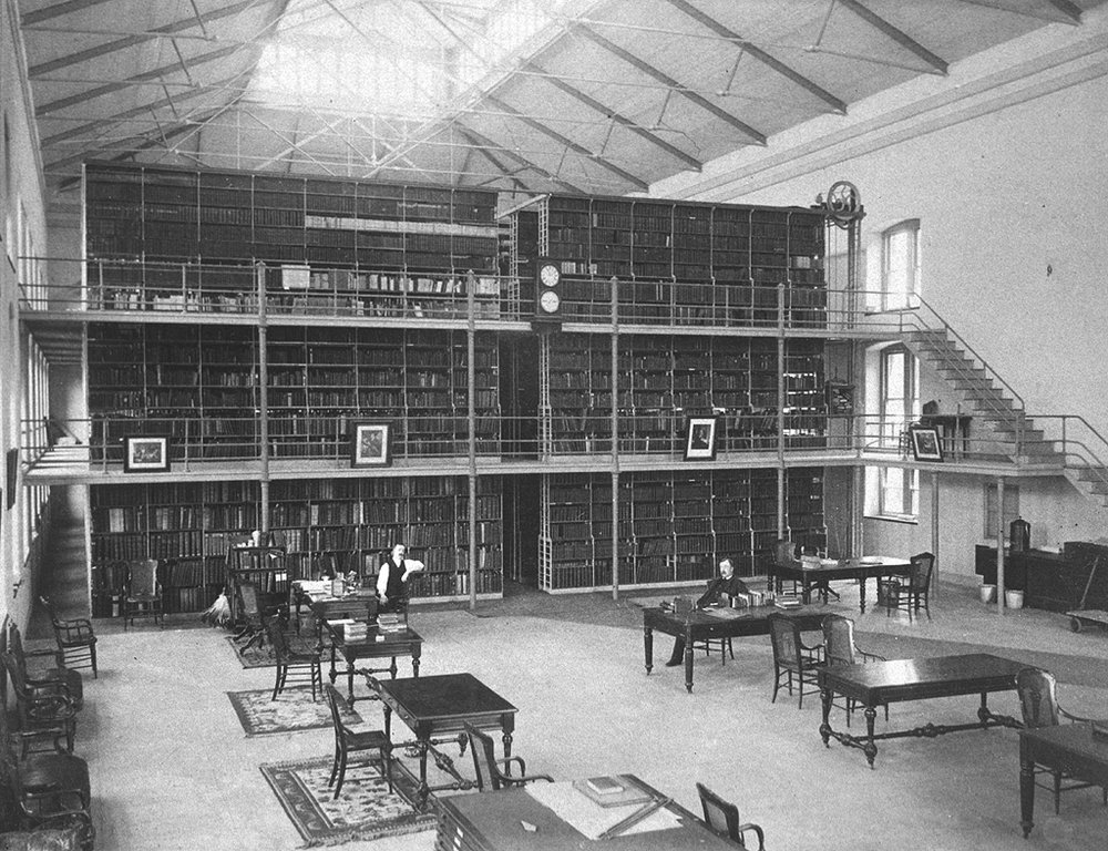 Surgeon General's Library. John Shaw Billings at table on the right.