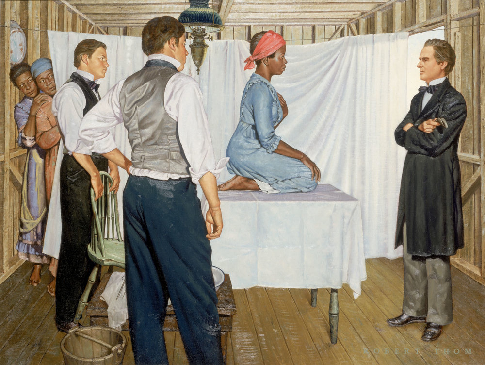 """J. Marion Sims: Gynecological Surgeon,"" from ""The History of Medicine,"" by Robert Thom, circa 1952. Archived at the University of Michigan. All 45 images available on  Imgur . Shown is the slave  Anarcha,"