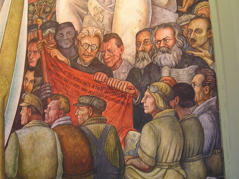 Rivera's tribute to Trotsky, Marx, Engels