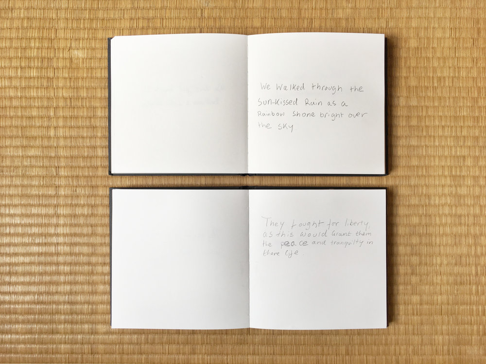 "Two notebooks containing respectively ""we"" sentences and ""they"" sentences."