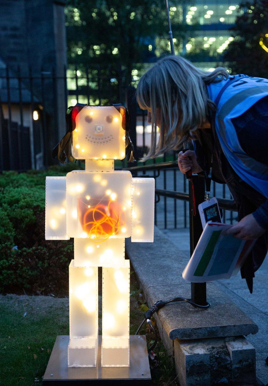 Robot Vivian at St John's Church,  Light Night Leeds 2018,  Leeds, UK