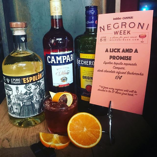Negroni week is finally here. Come check out our variations . . . . . A Lick And A Promise 1oz @campariofficial  1oz @espolontequila  1oz chocolate 🍫 Infused @becherovkausa  #drinkwithus #usbgsf #rustedmulesf #rustedmule #rustedmulebar #campari #espolontequila #becherovka #barlife #justdrink #drinkporn #cocktails🍹 #cocktailsanddreams #sfcocktails #sfbartenders #sfbars