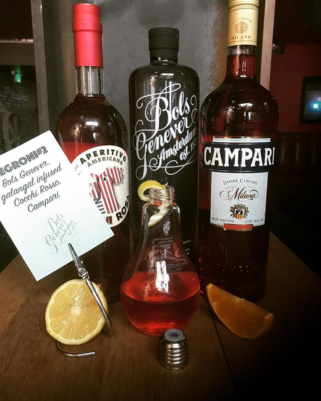Negroni Week is here. Come celebrate @rustedmule as we feature @bols_genever @campariofficial in our  Negroni #2 1oz @bols_genever  1oz @campariofficial  1oz Galangal Infused Cocchi Rosso . . . . . #rustedmulebar #bartenderlife #wegotyou #campari #negroniweek #negroni #negronis #negronitime #bolsgenever #usbgsf #cocchirosso #drinkwithus #lightbulbs