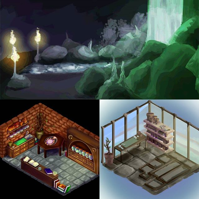 Let's catch you up on what we've been up to! 😊 Millie and Jess have been working hard creating environments and assets - these are just some of the awesome pieces they've been working on. Top is the Dungeons, left is the Crafting room and right is the inside of your Greenhouse. James has been busy building the project and Playtesting internally to get us ready for external testing! Great jobs everyone, super proud. Not long to go! 😁❤ #environment #concept #art #artist #code #design #gamesdesign #fantasy #potions #dreams #games #indie #indiedev #comingsoon