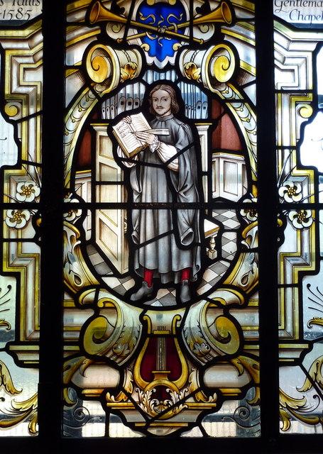 [Modern commemorative window in St Alfege Church]