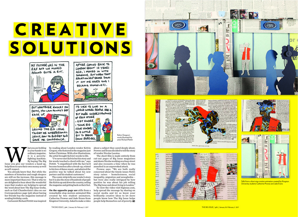 Our animation was featured in The Big Issue magazine in February 2017.
