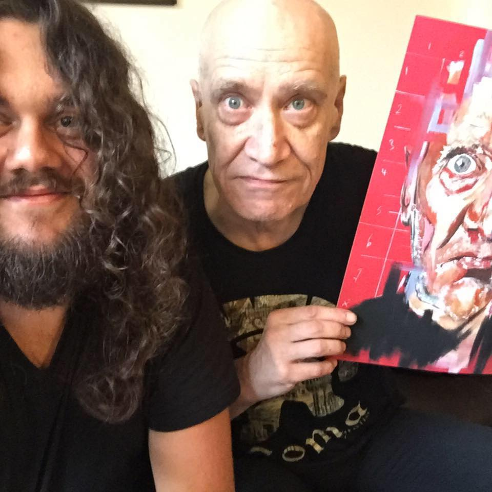 Wilko Johnson and I, after presenting him with a print of his portrait. It was an honour to spend time with this legend.