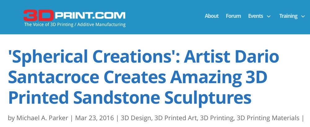 'Spherical Creations': Artist Dario Santacroce Creates Amazing 3D Printed Sandstone Sculptures