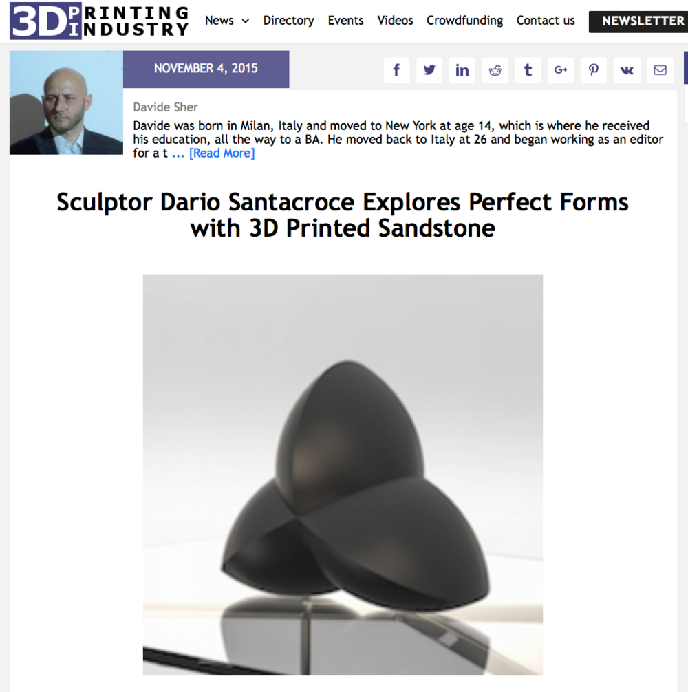 Sculptor Dario Santacroce Explores Perfect Forms with 3D Printed Sandstone