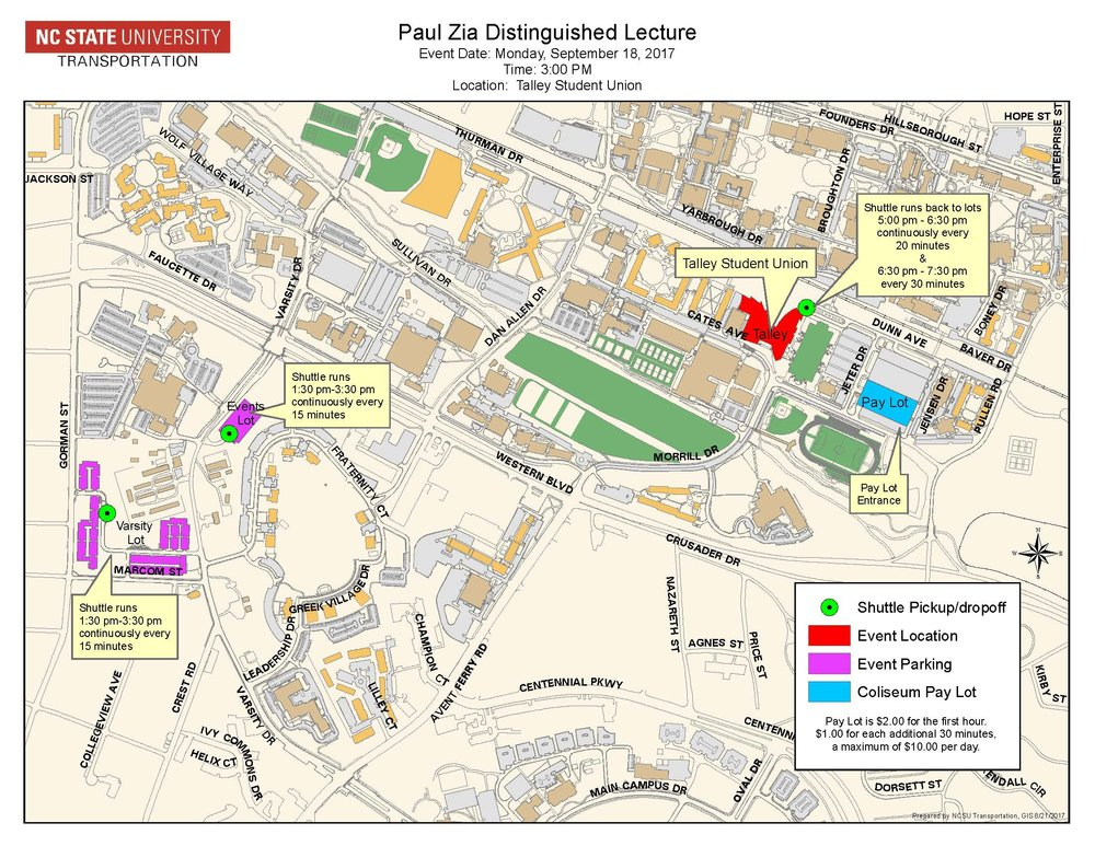 Free/Shuttle and Paid Parking Map