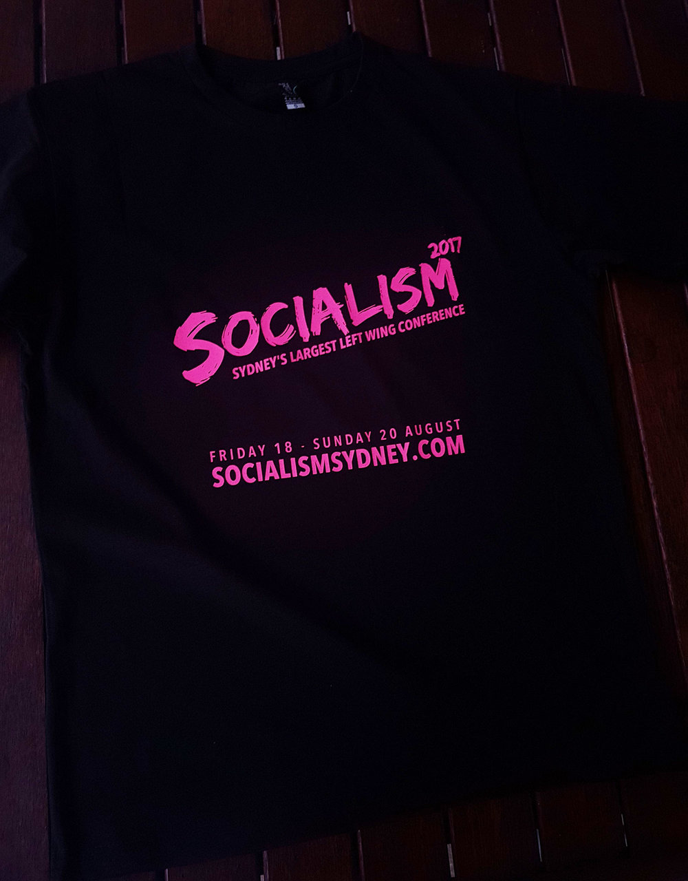 Socialism conference t shirts, pink on black