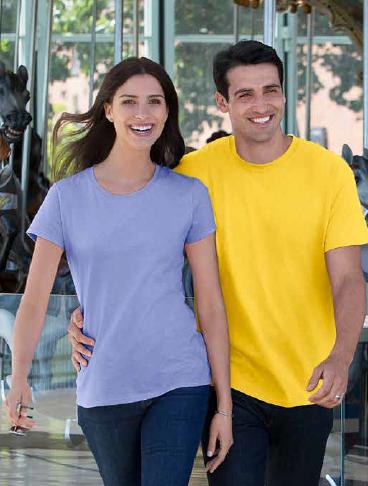 man and woman modelling gildan tees