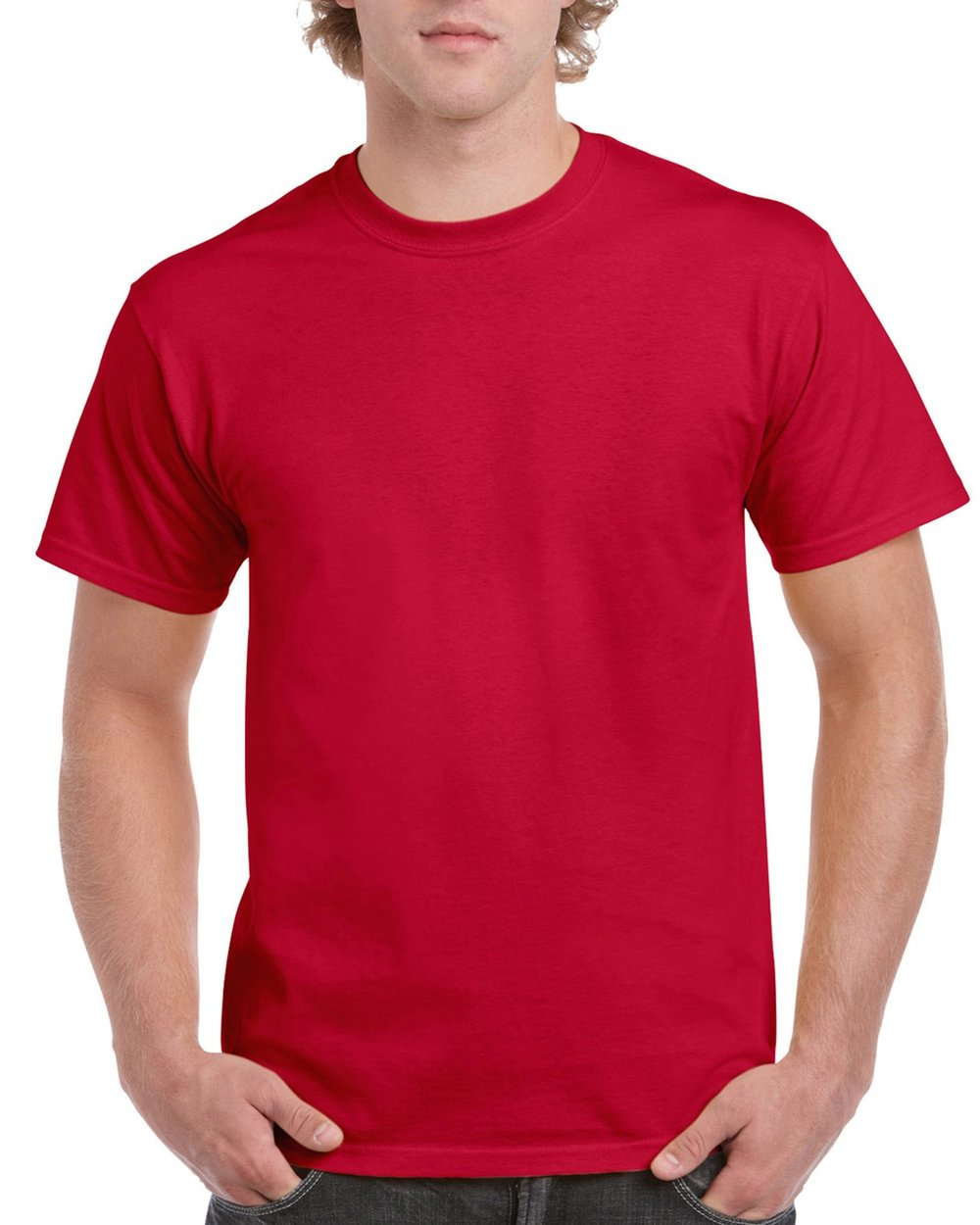 Red-mens-ultra-cotton-on-a-model