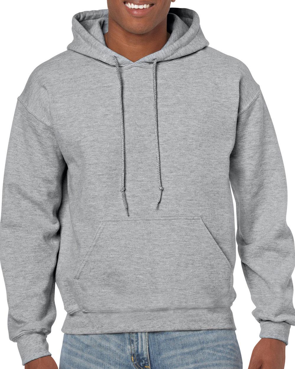 man wearing gildan hoodie
