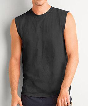 man wearing ultra cotton sleeveless tee