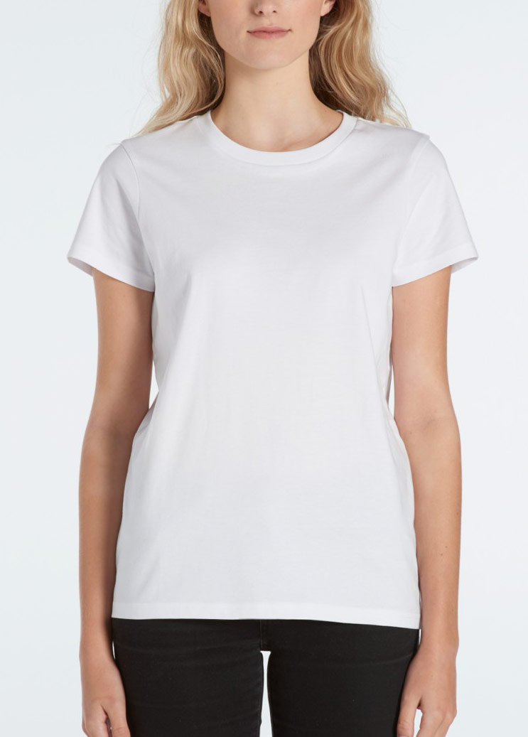 woman wearing as colour maple tee