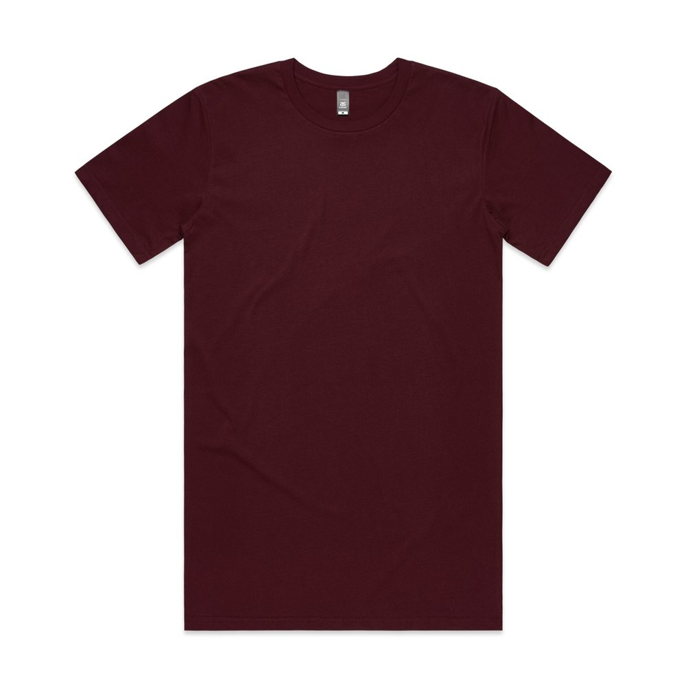 Mens Tall Tee 5013 - Regular-Relaxed Fit   Crew Neck   Long Body   Mid-Weight   180 gsm   100% Combed Cotton   Preshrunk   8 colours
