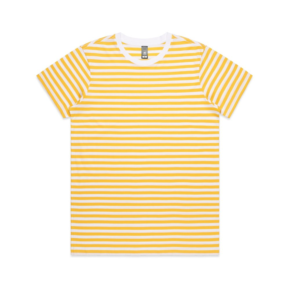 WO's Maple Stripe Tee 4037 - Regular Fit   Crew Neck   Light-Weight   150 gsm   100% Combed Cotton   Preshrunk   4 Colours