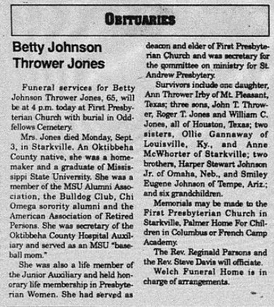 September 6, 1990 - Betty Jones' Obituary