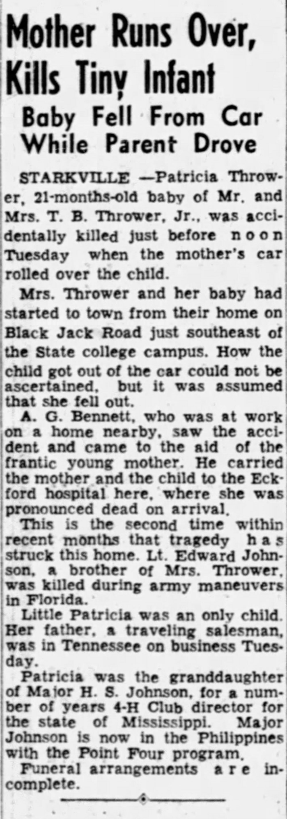 November 11, 1953 - Betty's Daughter Patricia Passes