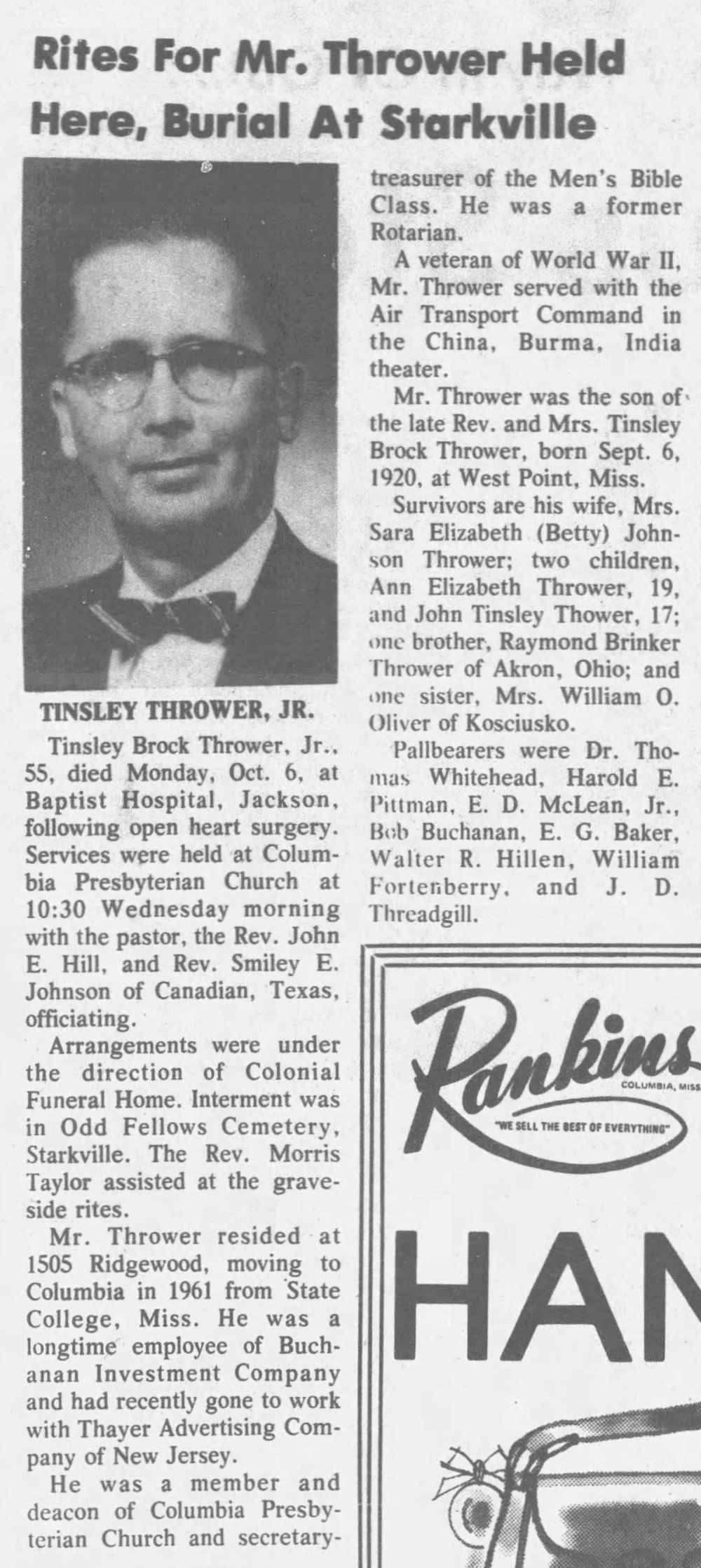 October 6, 1975 - Betty's Husband Tinsley Passes
