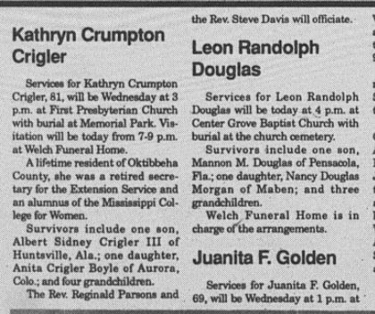 November 13, 1990 - Kathryn Crigler' Obituary