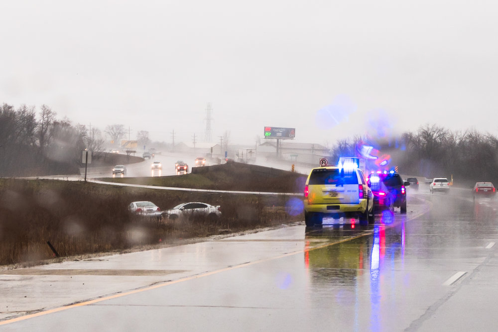 Hazardous conditions from hard rain created a bad outcome of two cars Sunday. The result of spinning off the pavement, they came together in the center divider between the north and southbound lanes of Interstate 94 just north of Caledonia.