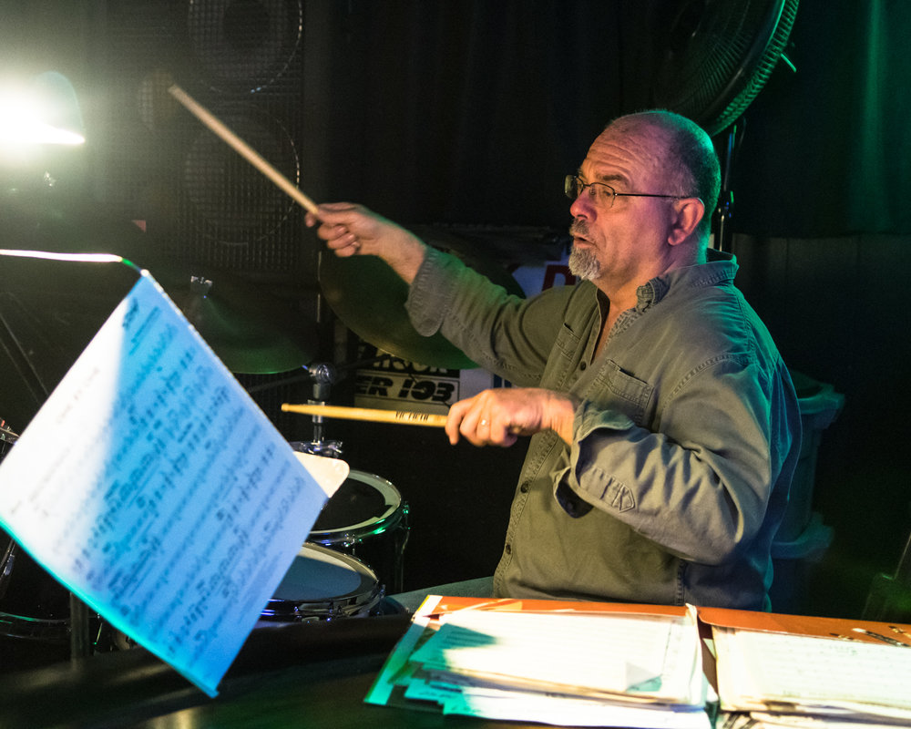 Percussionist Mick Heberling playing with the The Parkside Reunion Big Band during their performance at McAuliffe's Pub in Racine April 4.