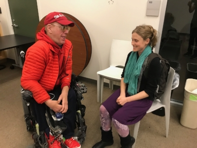 At the Berkeley Spinal Network, Elizabeth socializes with Nils.