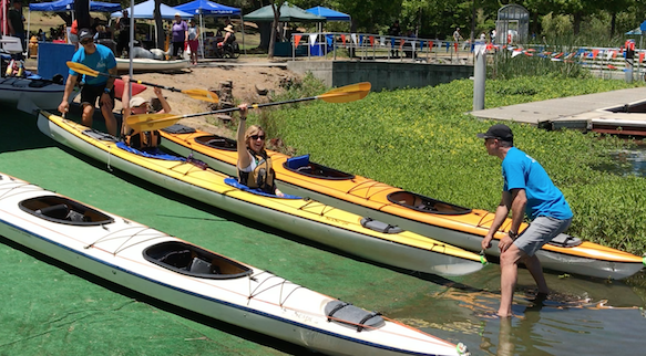 Sacramento's Char Vine all excited to launch her kayak.