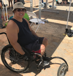 Friend of NorCal SCI, Tom in his all-terrain chair