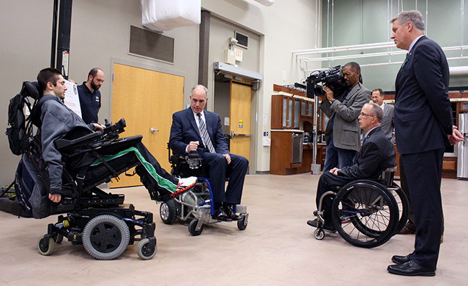HERL hosted U.S. Senator Robert Casey on November 6, 2017. In this photo, Sen. Casey (in the middle wheelchair) is driving HERL's PneuChair while accompanied by researcher Brandon Daveler, HERL Director Dr. Rory Cooper, and University of Pittsburgh Chancellor Dr. Patrick Gallagher.