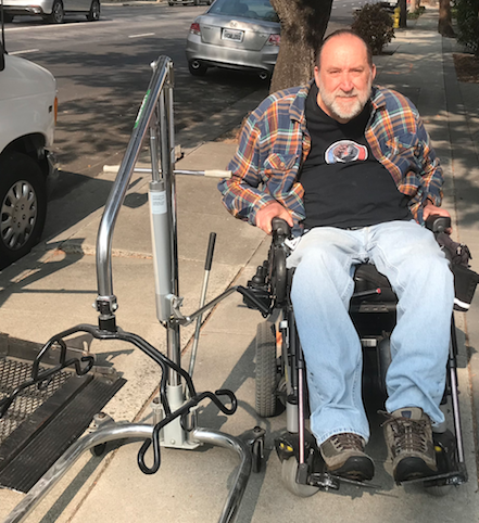 Foster Andersen, recipient of a Hoyer patient lift from our donated durable medical equipment program