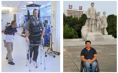 On the left, Dr Matthew Wetscheler while in rehab and Tom Chun on the right in North Korea.