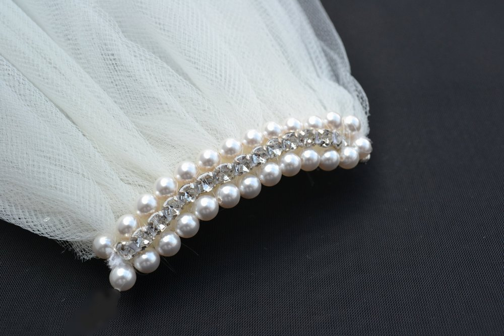 Diamonte and pearl wedding veil