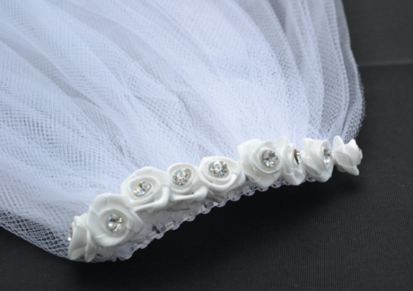 Diamonte rose bud wedding veil