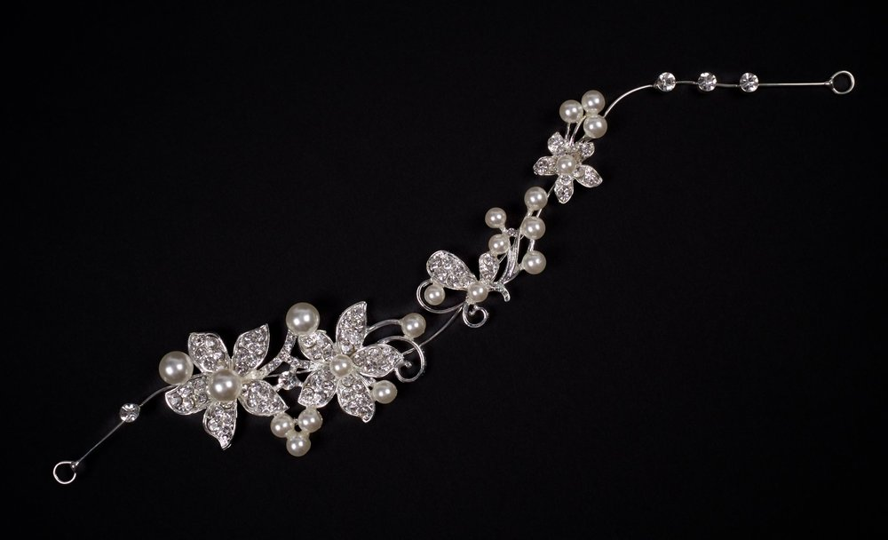 Diamonte and pearl bridal headpiece