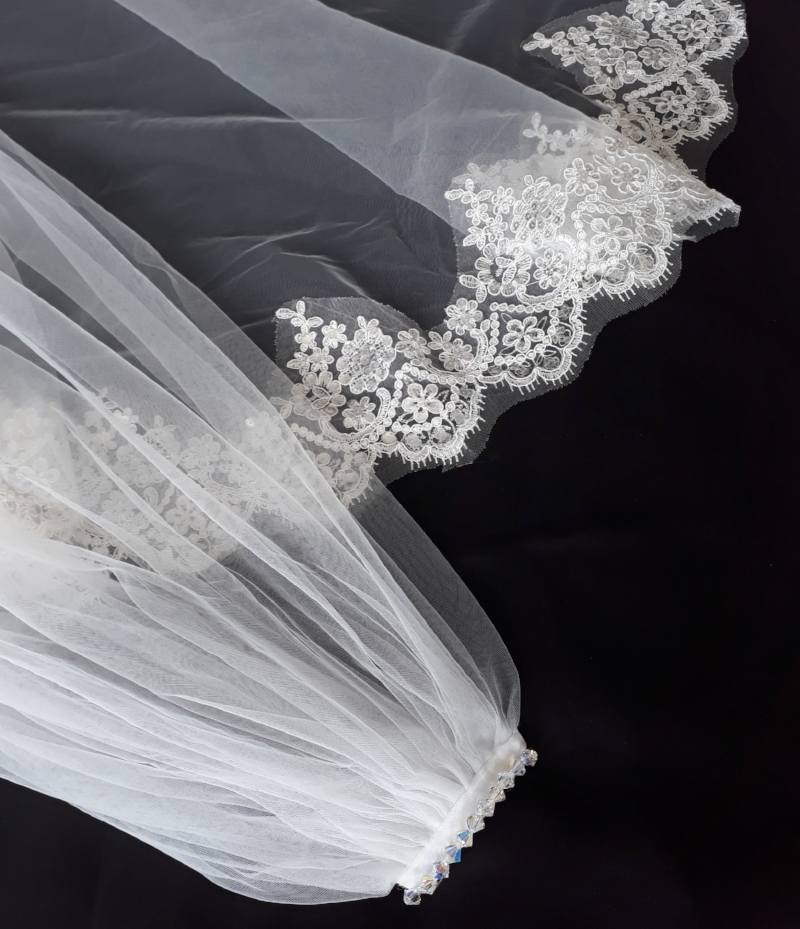 Cathedral length sequin lace wedding veil