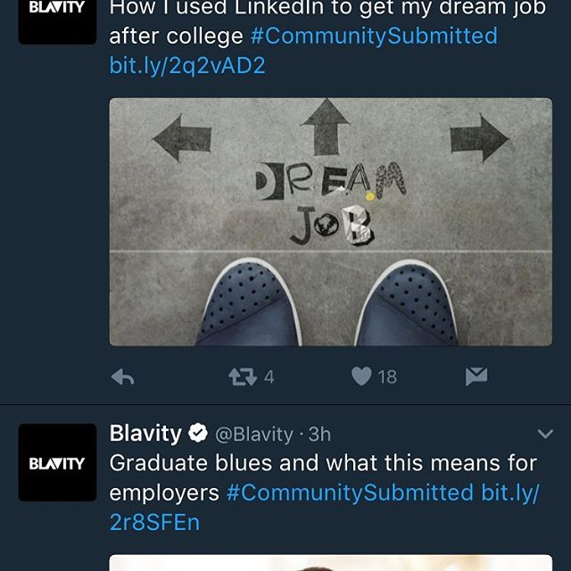 Started the workday by seeing two of our articles being the first posts on the Twitter feed of @blavity this morning. Link in bio! #employers check out how to develop a holistically healthy workplace as recent grads enter your workforce. Hope everyone is off to a great start to their week, cheers! #happymonday #millennials #recentgrads #mentalhealth #postgraduatelife #collegestudents #graduation #genz #creativeconsultancy #yvolve #innovation #innovatehr #disrupthr